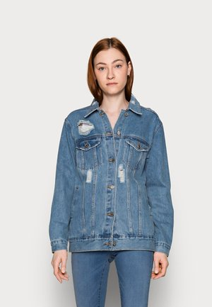 DISTRESSED BOYFRIEND JACKET - Denim jacket - blue