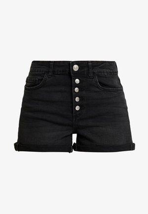 ONLHUSH BUTTON BOX - Shorts vaqueros - black denim