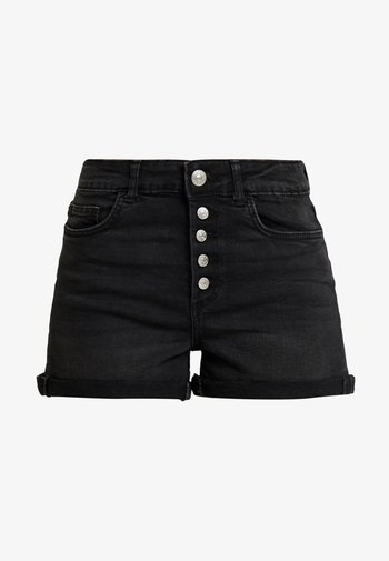 ONLHUSH BUTTON BOX - Denim shorts - black denim