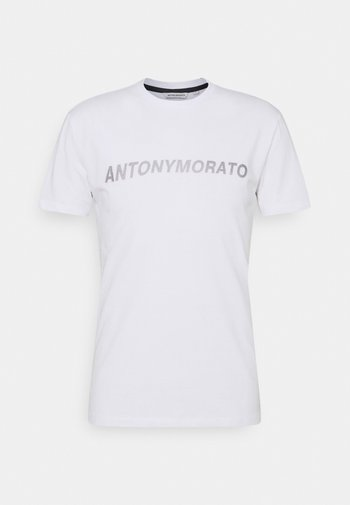 SUPER SLIM FIT WITH PINS BICOLOUR LOGO - Print T-shirt - bianco