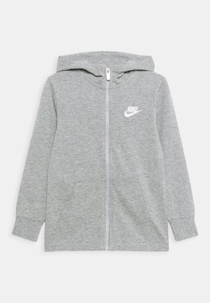 NEW HOODIE UNISEX - Mikina na zip - grey heather/white