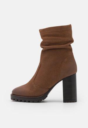 ELVIRA - High heeled ankle boots - cognac