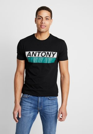 ROUND COLLAR WITH FRONT - Print T-shirt - black