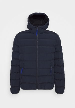 MAN JACKET FIX HOOD - Winter jacket - black blue
