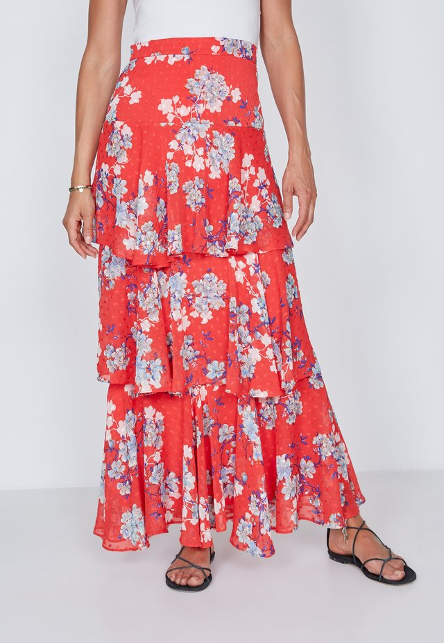 TIERED  - Maxi skirt - red