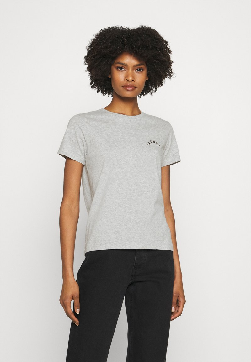 CLOSED - CREW NECK WITH LOGO ON CHEST - Print T-shirt - taupe