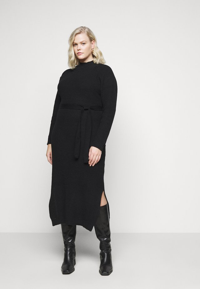 HIGH NECK BELTED MIDI DRESS - Vestido de punto - black