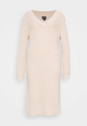 CROSSOVER VNECK - Jumper dress - oat heather