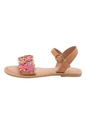 TAN FLOWER EMBELLISHED SANDALS (OLDER) - Sandals - brown