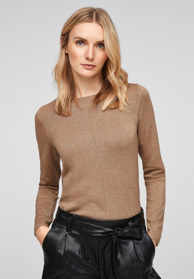 MIT RUNDHALSAUSSCHNITT - Sweatshirt - beige melange