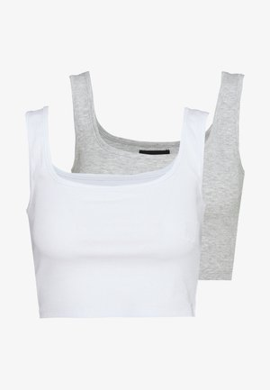 SQUARE NECK CROP 2 PACK - Linne - white/light grey