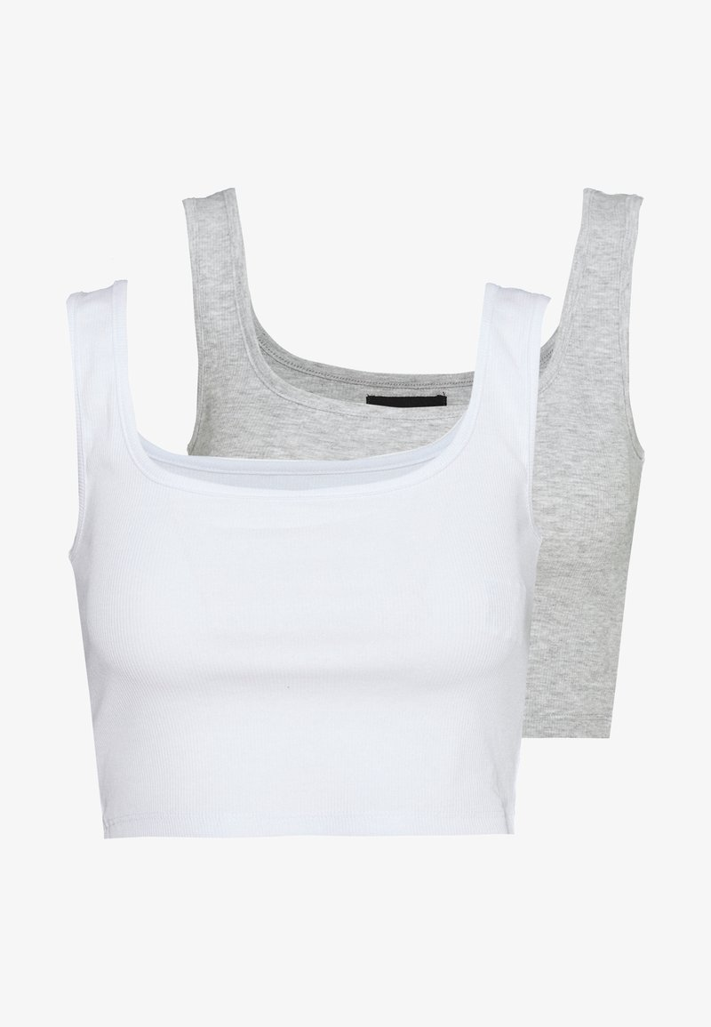 Even&Odd - SQUARE NECK CROP 2 PACK - Linne - white/light grey