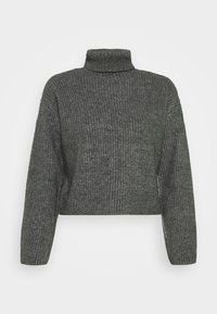 CROPPED BOXY ROLL NECK - Jumper - mottled dark grey