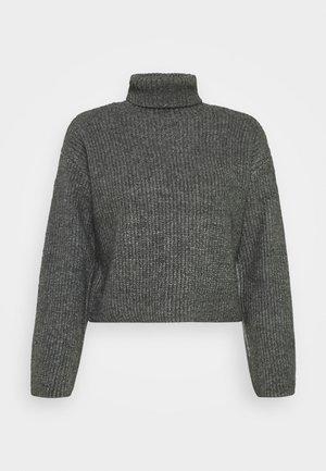 CROPPED BOXY ROLL NECK - Neule - mottled dark grey