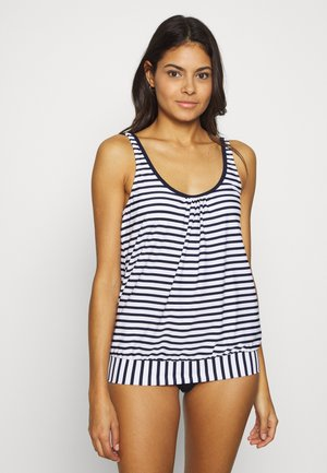 OVERSIZE TANKINI - Bikini top - white/navy