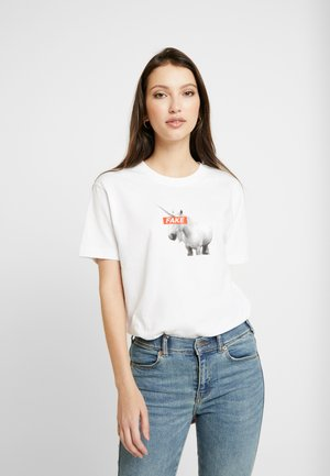 LADIES FAKE UNICORN TEE - Printtipaita - white