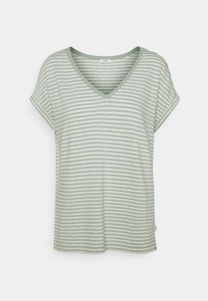 SHORT SLEEVE WIDE BODYSHAPE VNECK - Print T-shirt - mint