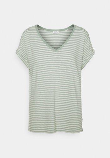 SHORT SLEEVE WIDE BODYSHAPE VNECK - Print T-shirt - mint