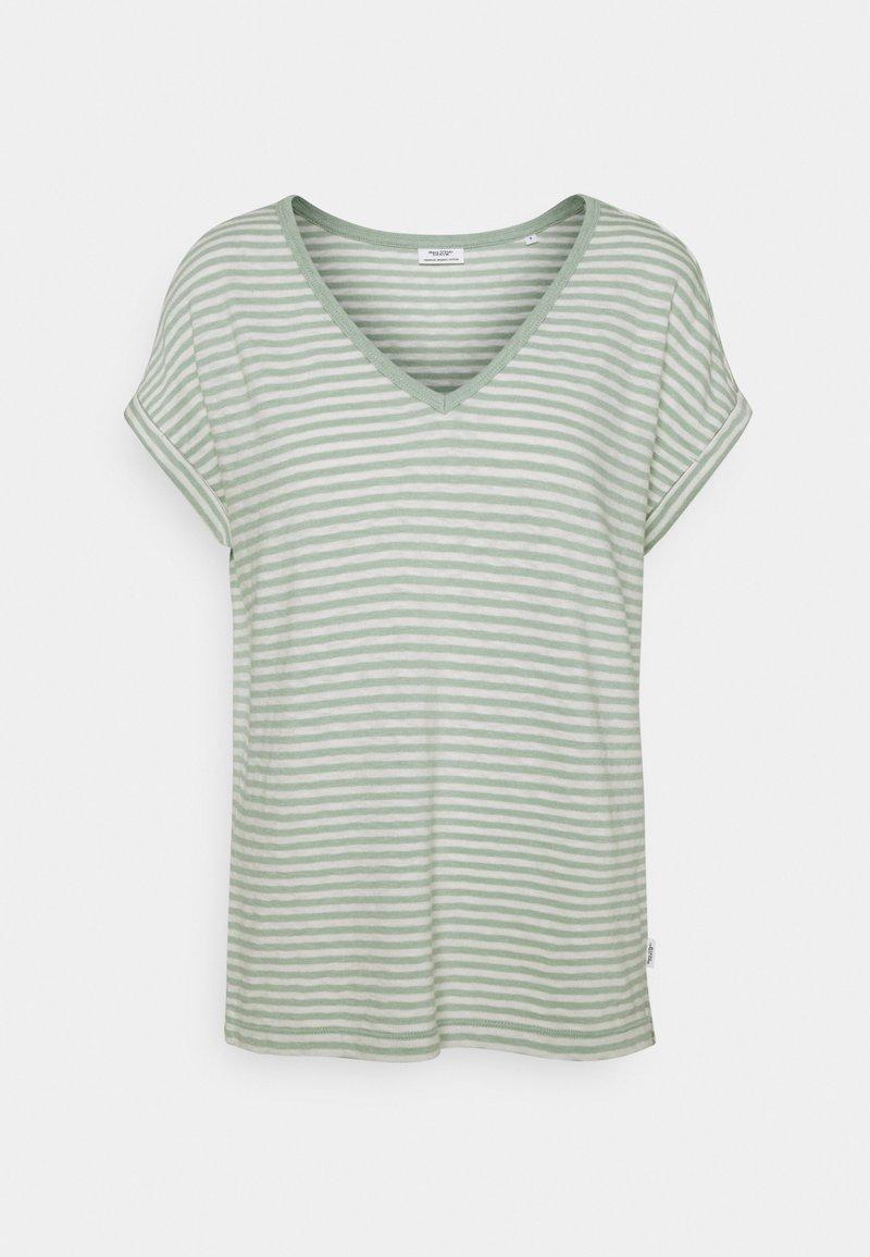 Marc O'Polo DENIM - SHORT SLEEVE WIDE BODYSHAPE VNECK - Print T-shirt - mint
