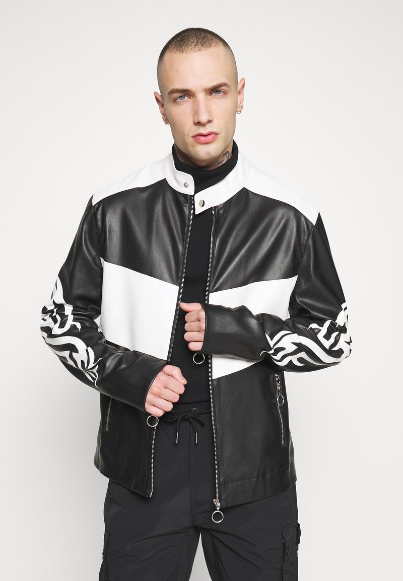 Jaded London - TRIBAL MOTORCROSS VEGAN JACKET - Faux leather jacket - black/white
