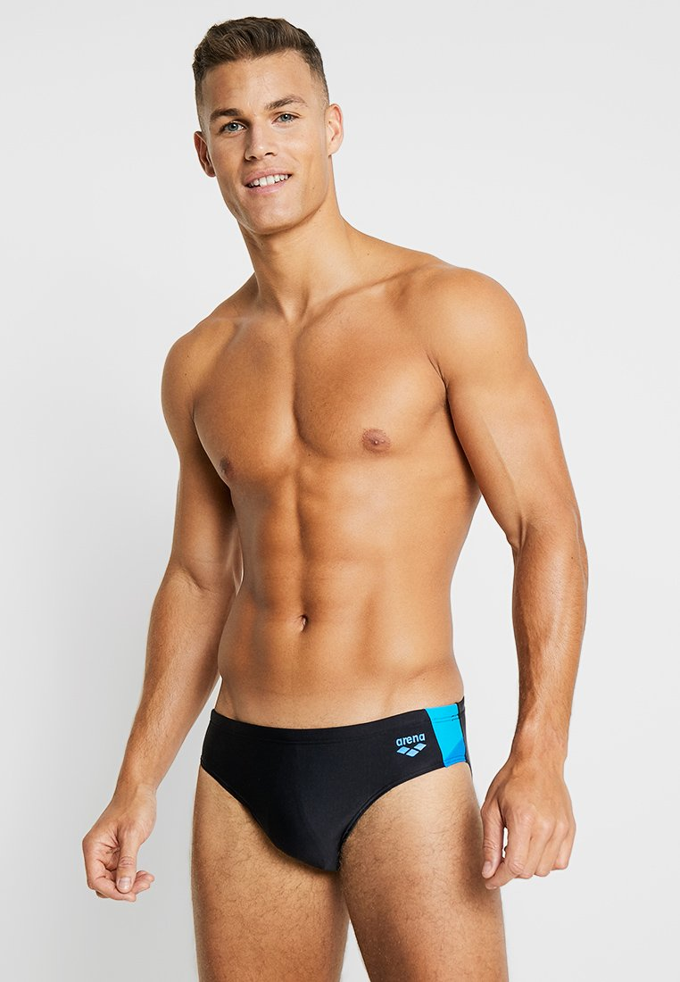 Arena - REN BRIEF - Swimming briefs - black/pix blue/turquoise
