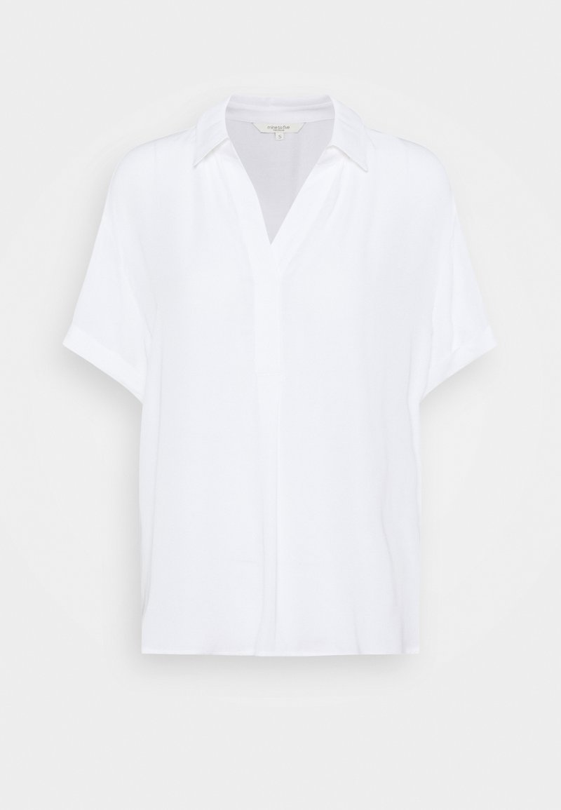 mine to five TOM TAILOR - FABRIC MIX WITH COLLAR - Tunic - white