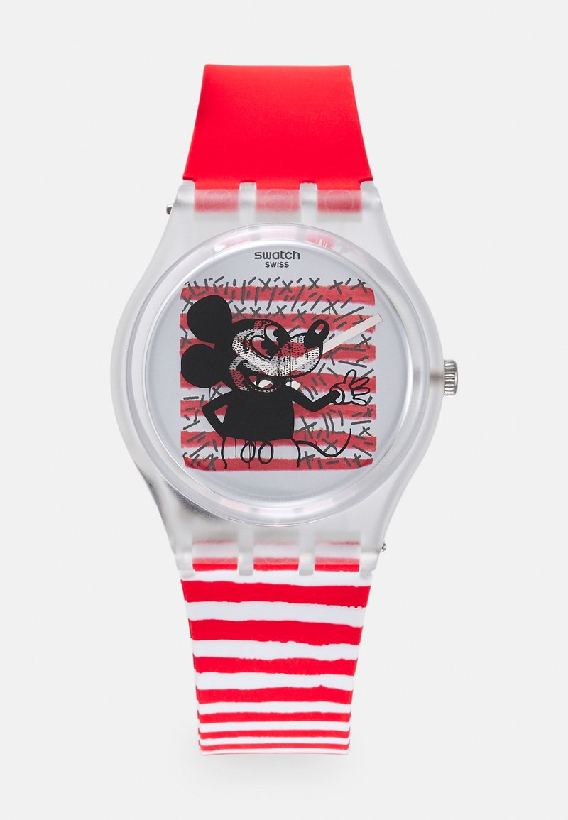Swatch - MOUSE MARINIÈRE - DISNEY MICKEY MOUSE X KEITH HARING COLLECTION BY SWATCH - Horloge - red