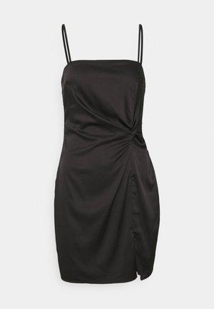 SQUARE NECK TWIST FRONT MINI DRESS - Cocktailjurk - black