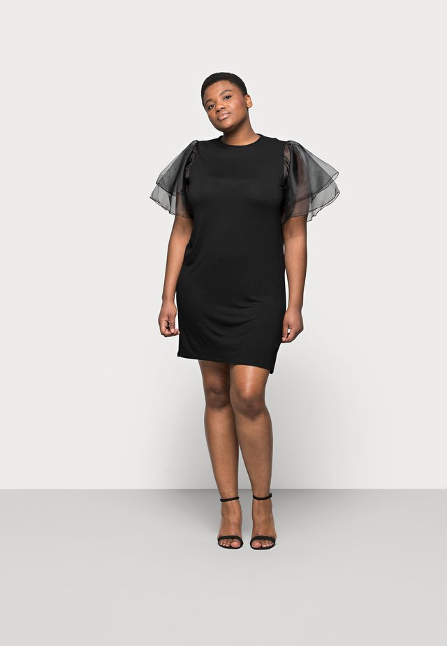 PLUS FRILL SLEEVE DRESS - Robe d'été - black