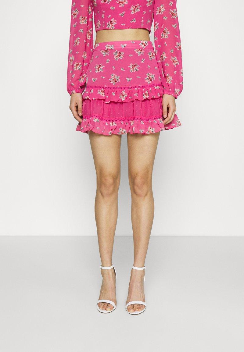 Glamorous - RUFFLE SKIRTS - Mini skirt - pink