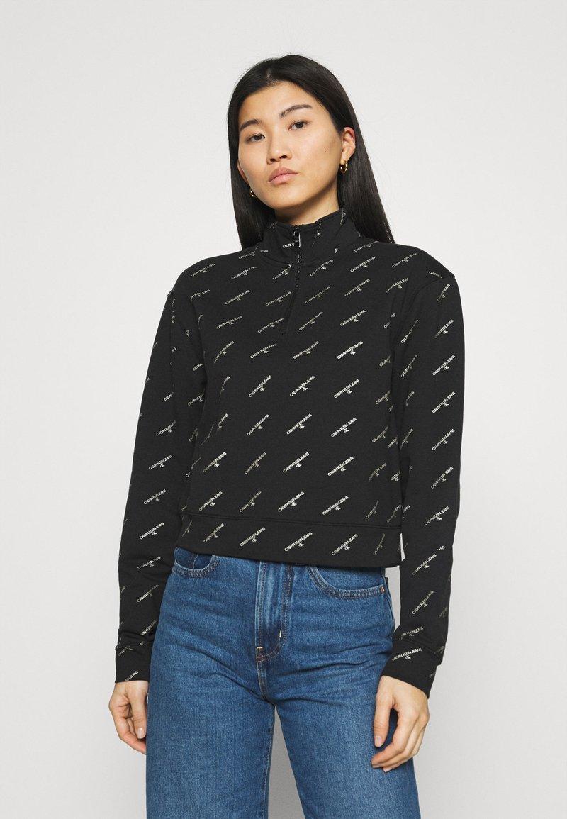 Calvin Klein Jeans - LOGO HALF ZIP - Felpa - black