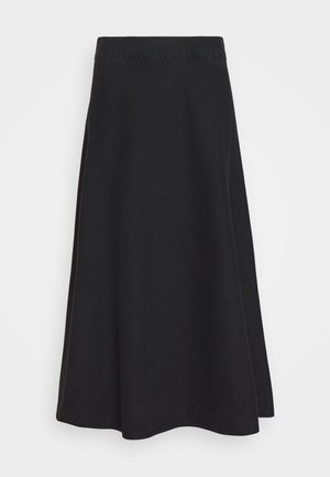 STELLY LONG - A-line skirt - washed black