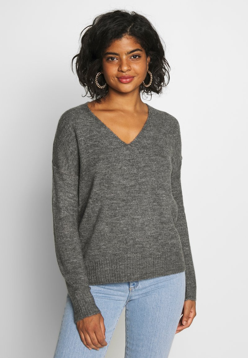 JDY - JDYTEA TREATS V-NECK - Sweter - dark grey melange