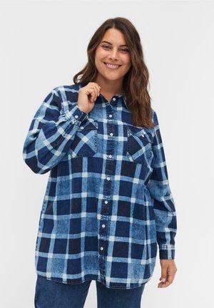 Button-down blouse - blue/black check