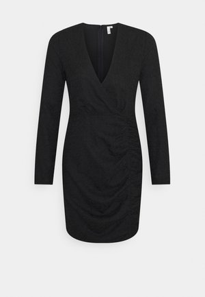 RUCHE JACQUARD DRESS - Day dress - black