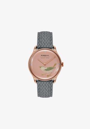 UHR MORRIS & CO ROSE GOLD BIRD GREY PERLON 30MM - Horloge - primrose