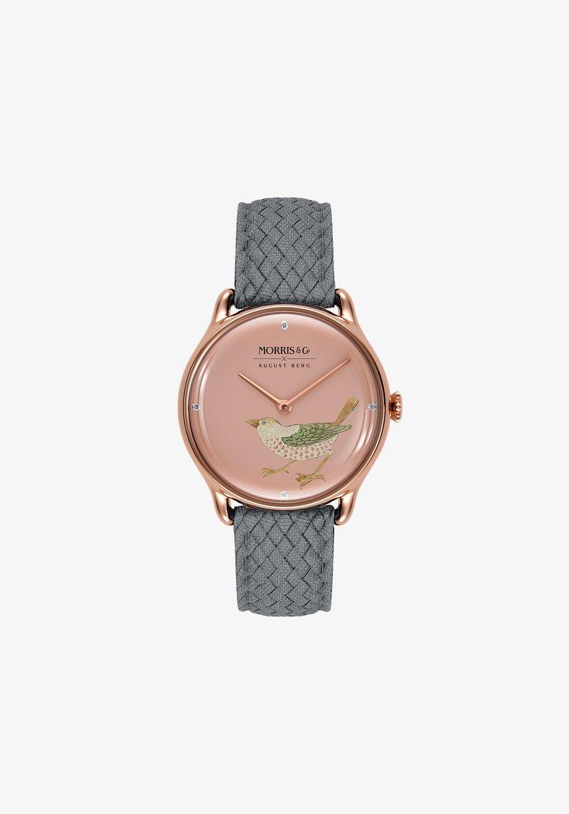 August Berg - UHR MORRIS & CO ROSE GOLD BIRD GREY PERLON 30MM - Horloge - primrose