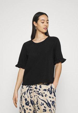 ONLNOVA LUX FRILL SOLID  - T-shirts - black