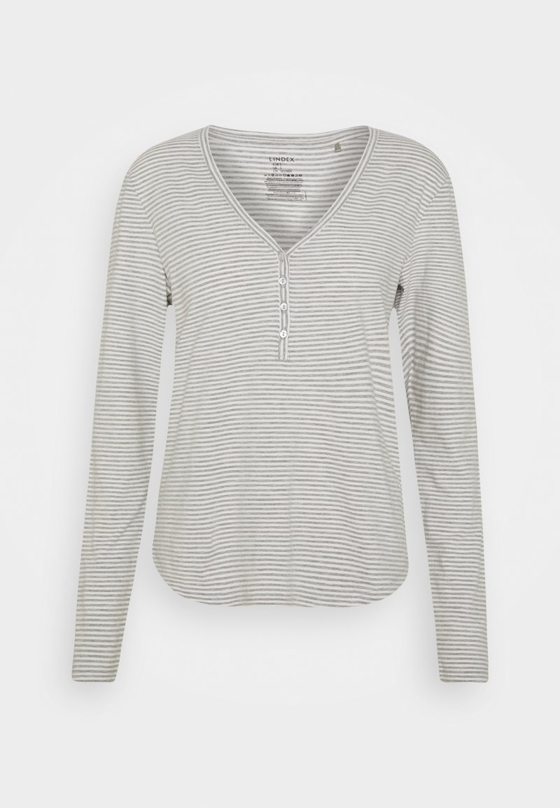 Lindex - NIGHT ANNELIE - Pyjama top - light grey melange
