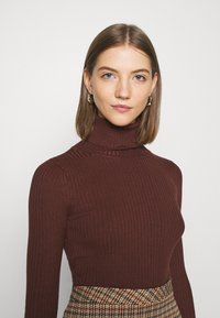 Even&Odd - BASIC- RIBBED TURTLE NECK - Jumper - dark brown - 3