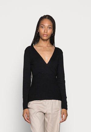 WRAP SLIM FIT JUMPER  - Pullover - black