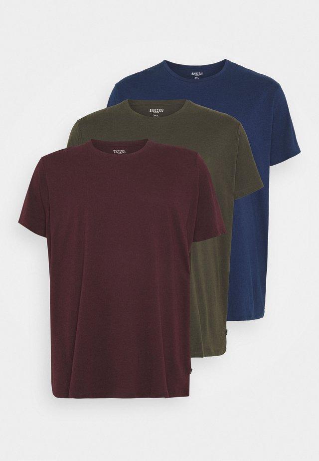 SHORT SLEEVE CREW 3 PACK - T-shirt - bas - indigo/burgundy