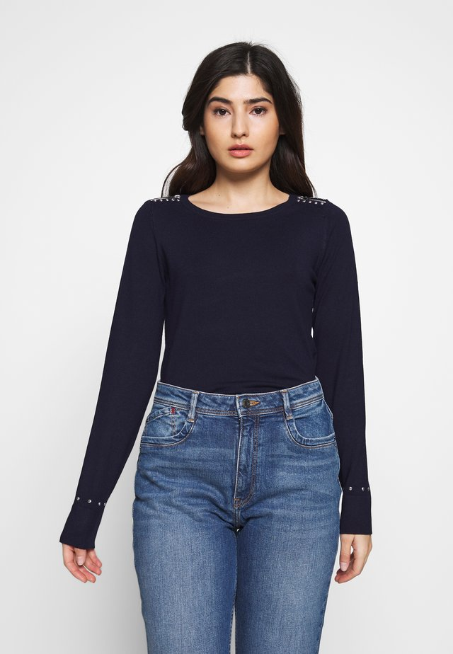 ZIP CREW NECK - Jumper - navy