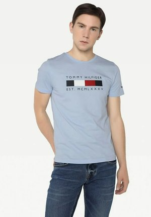 LOGO BOX STRIPE TEE - T-shirt med print - sweet blue