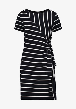 Jersey dress - dunkelblau/weiß