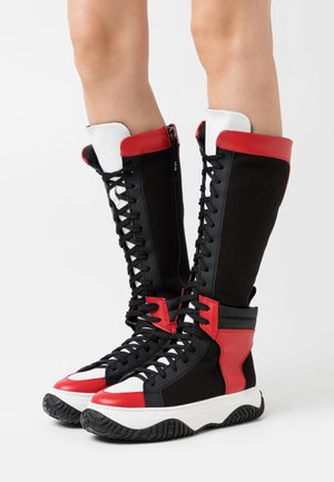 BOOTS - Lace-up boots - black/red