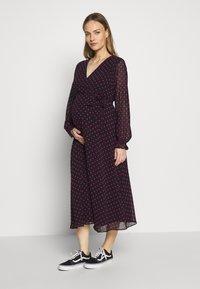 Dorothy Perkins Maternity - SPOT WRAP DRESS - Day dress - black - 0