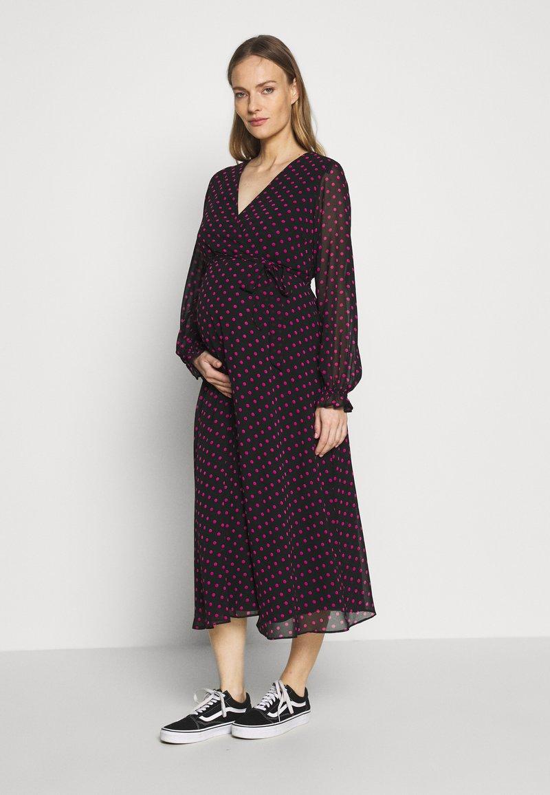 Dorothy Perkins Maternity - SPOT WRAP DRESS - Day dress - black