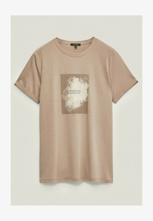 MIT SLOGAN - Print T-shirt - beige
