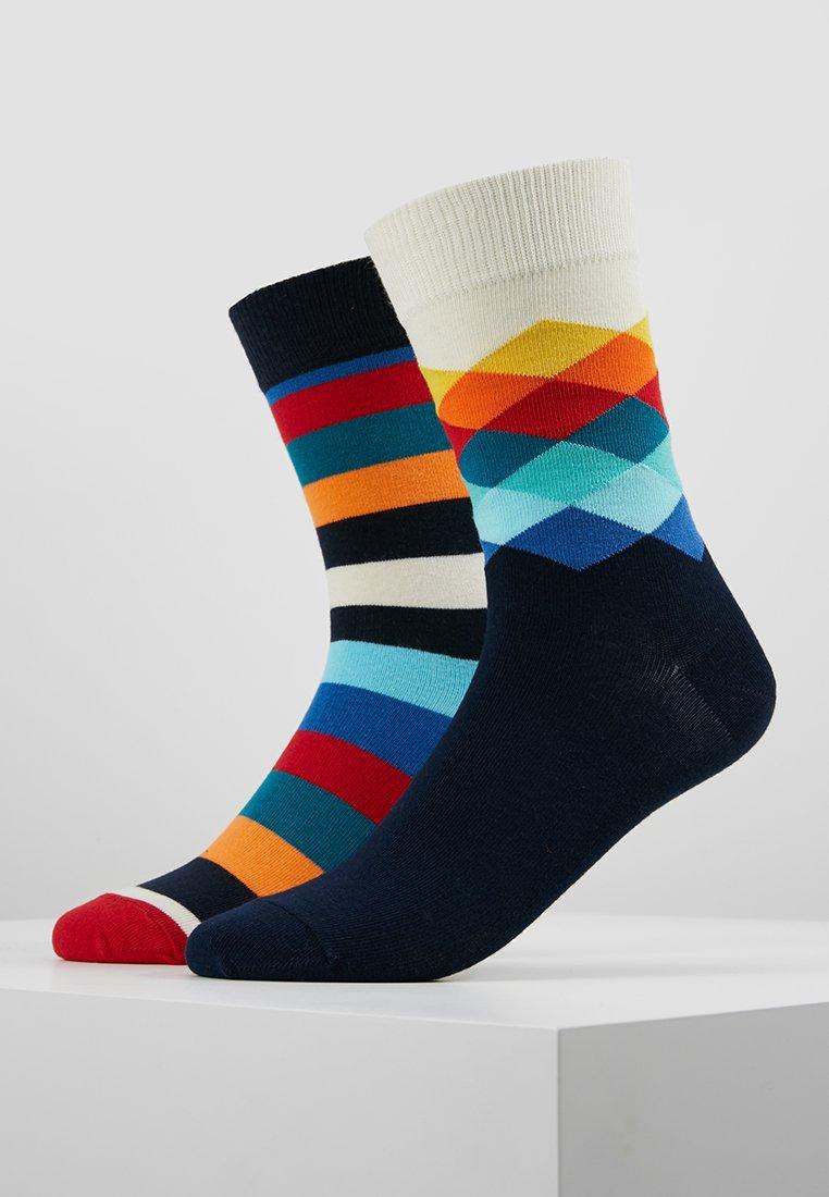 Happy Socks - FADED DIAMOND STRIPE 2 PACK - Socks - red/black